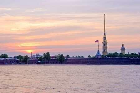 Peter and Paul Fortress and Neva River at sunset, St.Petersburg Stock Photo - 15840316