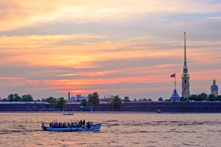 Peter and Paul Fortress and Neva River at sunset, St.Petersburg Stock Photo - 15840321