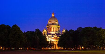 Night Scene of Famous Saint Isaacs Cathedral (built 1818-1850 by Auguste de Montferrand),  St. Petersburg, Russia photo