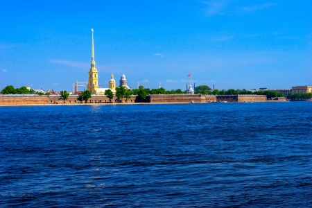 Peter and Paul Fortress and Neva River at day, St.Petersburg