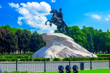 igrave: Bronze Horseman, Monument to Peter I the Great (1770-1882 by E.M.Falconet), St. Petersburg. Russia Stock Photo