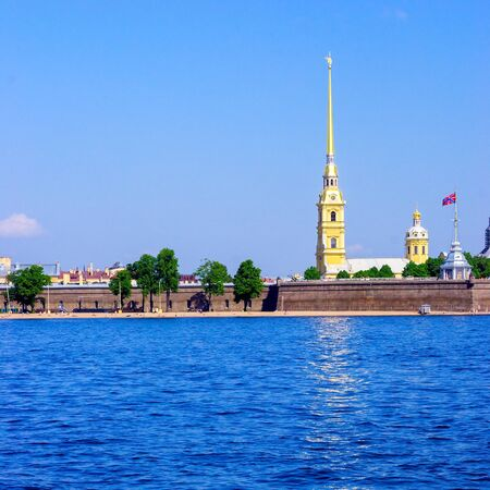Peter and Paul Fortress and Neva River at day, St.Petersburg photo