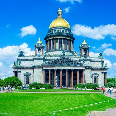 Famous Saint Isaacs Cathedral (built 1818-1850 by Auguste de Montferrand),  St. Petersburg, Russia photo