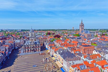View from Nieuwe Kerk (New Church) (1383-1510) on Oude Kerk (Old Church) (14th-15th cent.), Delft, Netherlands