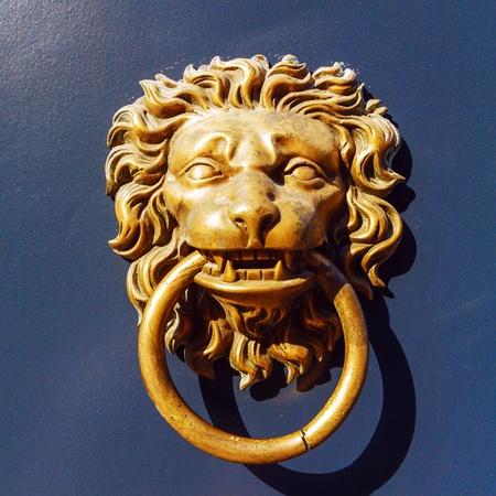 doorknocker: Closeup of Lion Door Knocker, Ghent, Belgium
