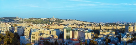 Panorama of Jerusalem Old City and Mount of Olives at Sunrise, Israel Stock Photo - 18443085
