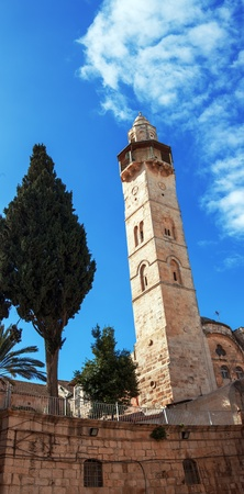 omar: Minaret of Mosque of Omar in the courtyard of Church of the Holy Sepulcher, Jerusalem