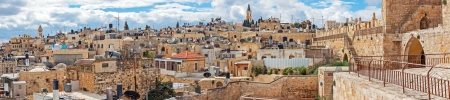 Panorama of Jerusalem Old City from Wall, Israel photo