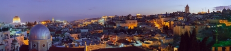 Panorama of Jerusalem Old City and Temple Mount at Night, Israel