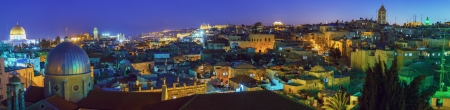 Panorama of Jerusalem Old City and Temple Mount at Night, Israel Stock Photo - 18443087