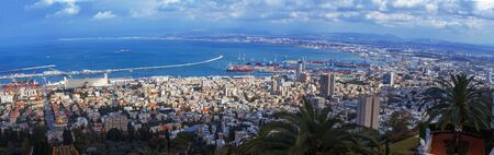 Panorama - Aerial View of Haifa with Bahai Shrine and Modern Port, Israel
