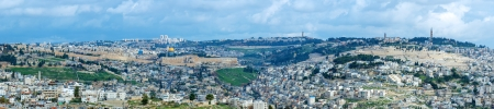 Panorama of Jerusalem Old City with Temple Mount and Mount of Olives, Israel photo