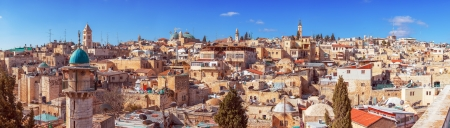 Panorama of Jerusalem Old City with Church of the Holy Sepulchre, Israel Stock Photo - 18443094