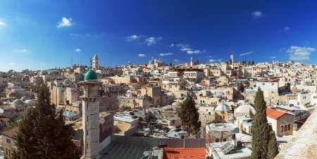 Panorama of Jerusalem Old City with Church of the Holy Sepulchre, Israel photo