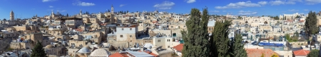 jewish houses: Panorama of Jerusalem Old City with Church of the Holy Sepulchre, Israel