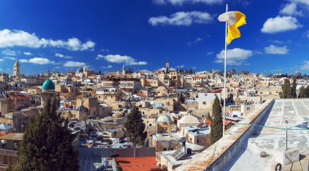Panorama of Jerusalem Old City with Church of the Holy Sepulchre, Israel Stock Photo - 18443086
