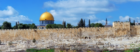 Panorama - Dome of the Rock and Jerusalem Wall with Ancient Graveyard photo