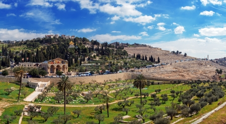 Panorama - Church of All Nations and Mary Magdalene Convent on the Mount of Olives, Jerusalem Stock Photo