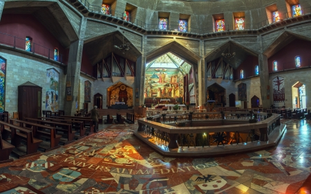 Panorama - Interior of Church of the Annunciation with Mosaics and Stained Glass, Nazareth Editorial