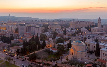 Aerial View of Jerusalem before Sunrise, Israel photo