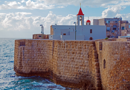 acre: Sea Wall and Port of Acre, Israel Editorial