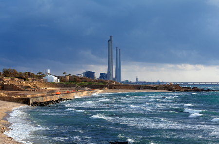Sea Coast and Ruins of Caesarea Maritima before Sunset, Israel photo