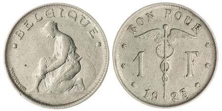 franc: One Franc Coin Isolated Both Side, 1923, Belgium