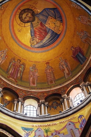 sepulchre: Interior and Dome of Holy Sepulchre Cathedral with Jesus Mosaic, Jerusalem