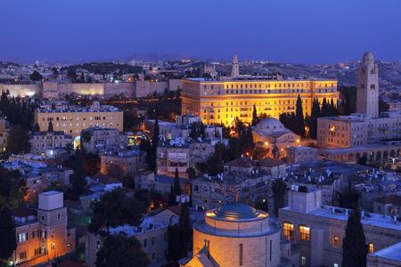 mount of olives: Jerusalem Old City and Mount of Olives at Night, Israel