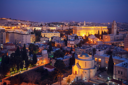 Jerusalem Old City and Mount of Olives at Night, Israel photo