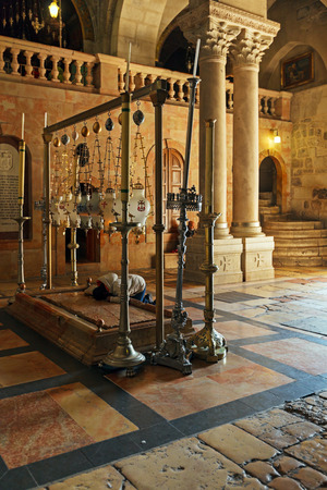 sepulchre: Stone of Unction at Entrance in Temple of the Holy Sepulcher in Jerusalem