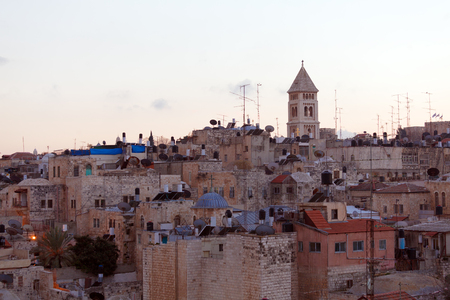 Jerusalem Old City and Temple Mount at Night, Israel photo