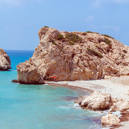 Rocks of Aphrodite, bithplace of goddess of love, Paphos, Cyprus, also called Petra tou Romiou photo