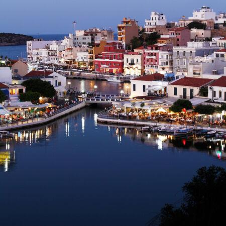 Agios Nikolaos City and Voulismeni Lake at Night  Crete, Greece