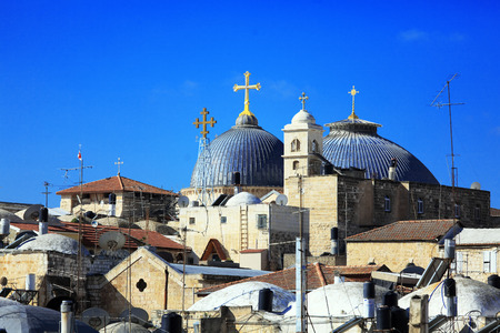 sepulchre: Roofs of Old City with Holy Sepulcher Church Dome, Jerusalem, Israel Stock Photo
