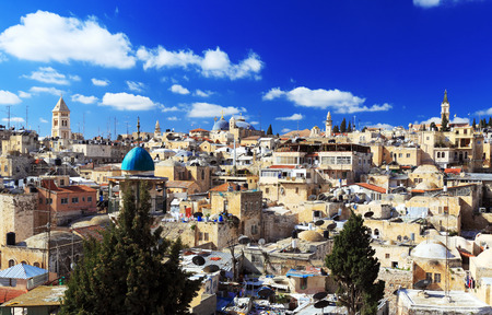 Roofs of Old City with Holy Sepulcher Chirch Dome, Jerusalem, Israel Stock Photo