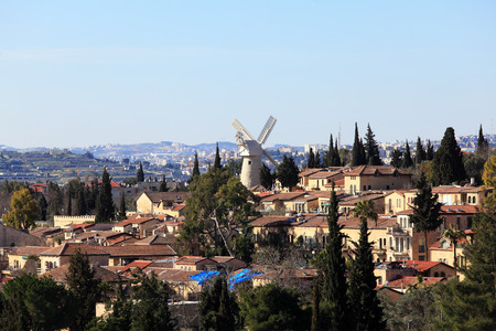 jewish home: View of Famous Windmill, Jerusalem, Israel Stock Photo