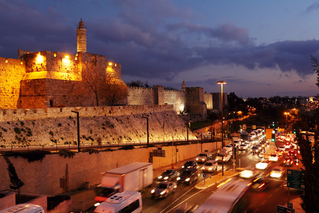 jaffa: Walls of Ancient City at Night, Jerusalem, Israel
