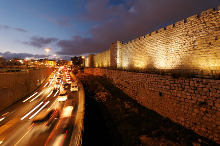 ancient israel: Walls of Ancient City at Night, Jerusalem, Israel