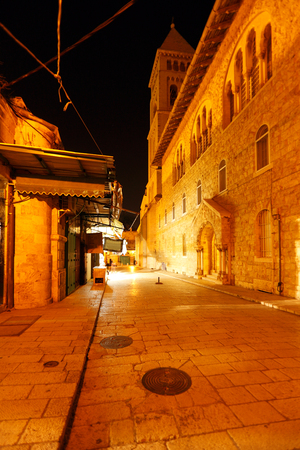 Muristan Street near Holy Sepulcher Cathedral at Night, Jerusalem, Israel