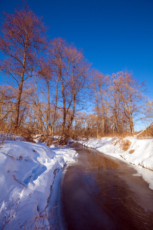 early spring snow: Forest River with Snow at Early Spring, Russian Nature
