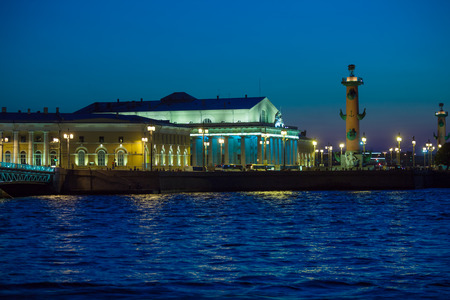 Stock Exchange and Rostral Columns on Spit of Vasilievsky Island at night, St.Petersburg