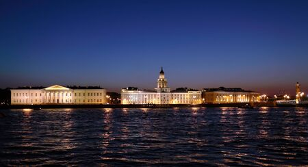 saint petersburg: Kunstkamera and Neva at night, Saint Petersburg