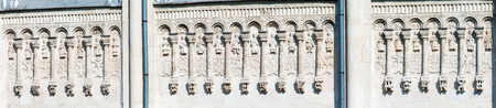 vladimir: Wide Panorama Cathedral of St. Demetrius Stone Carving, Vladimir, Russia Stock Photo