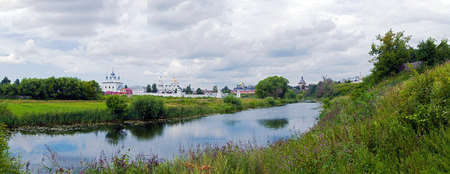 convent: Wide Panorama Convent of the Intercession, Suzdal, Russia Stock Photo