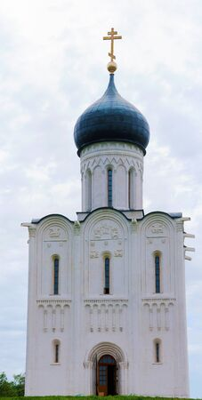 bogolyubovo: Vertical Panorama Church of the Intercession on the Nerl in Bogolyubovo, Vladimir Stock Photo