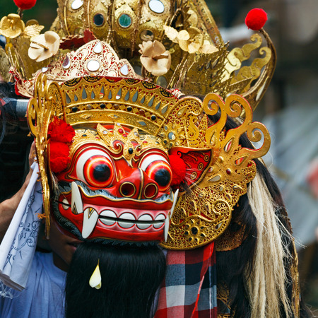Barong dance mask of lion, Ubud, Bali, Indonesia