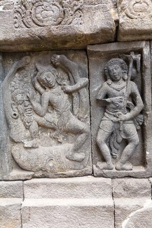 prambanan: Stone carving of Prambanan Hindu temple, Yogyakarta,  Java, Indonesia