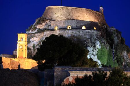 kerkyra: Evening View of Illuminated Old fortress, Corfu island, Greece