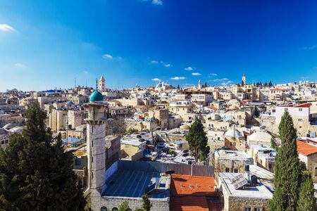church of the holy sepulchre: Roofs of Old City with Holy Sepulcher Church Dome, Jerusalem, Israel Stock Photo